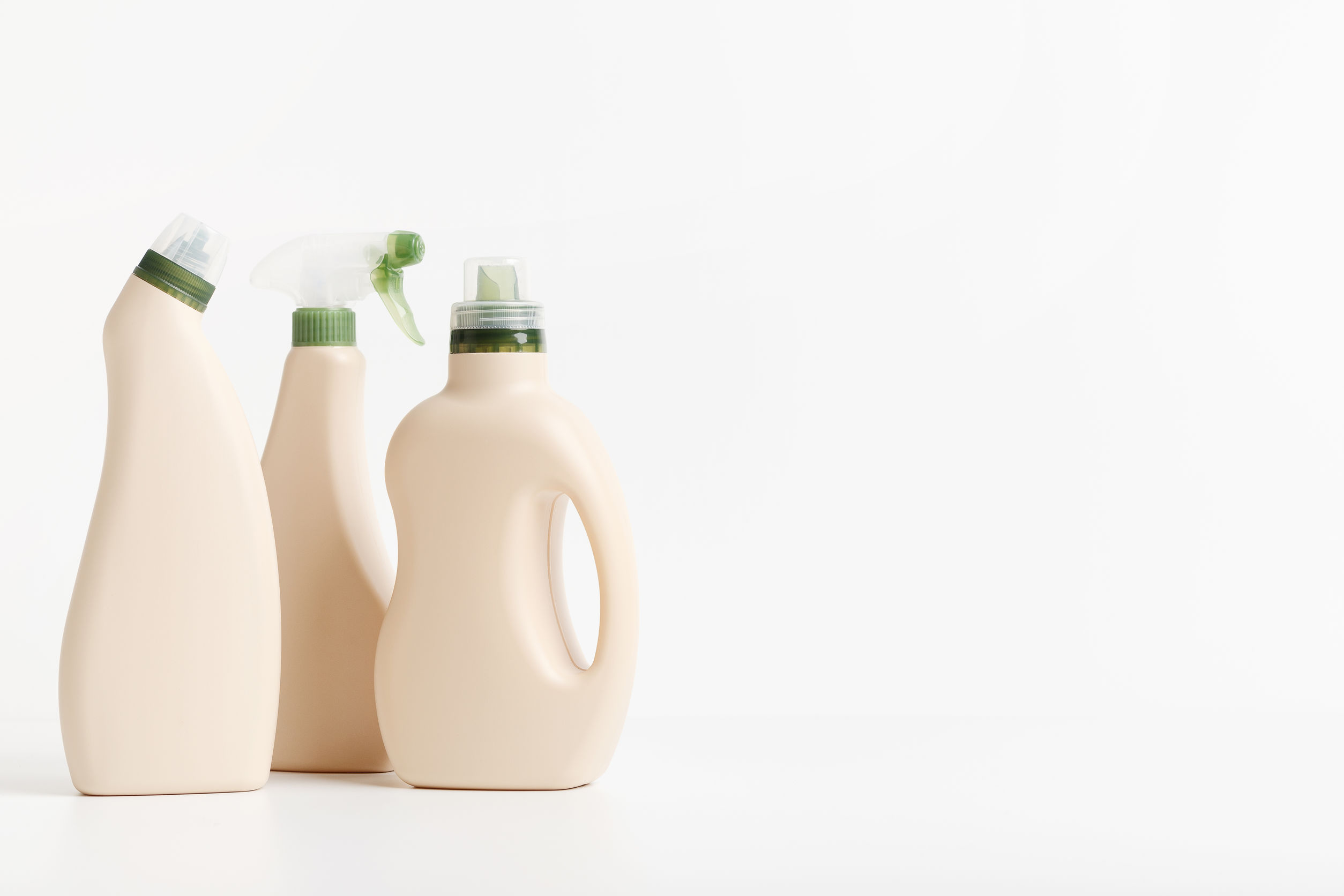3 eco design plastic bottles of laundry products