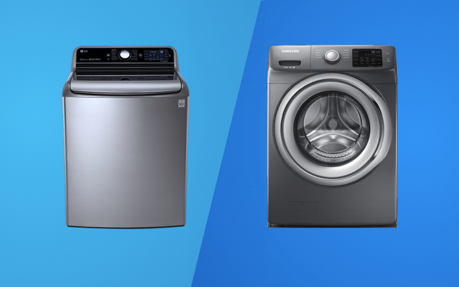 Isolated images of a top-load washer next to a front-load washer on a blue background