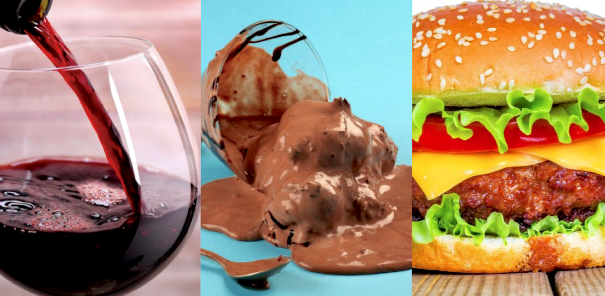 3 images. Glass of wine being poured, Chocolate Ice cream melting, and a Cheeseburger