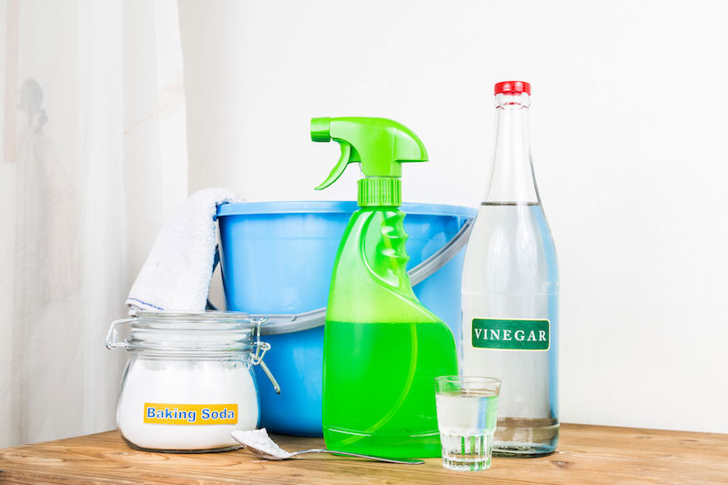 Various cleaning containers with no labels.