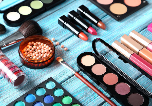 makeup product laying on blue counter